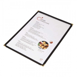 Protege-menus style americain Olympia A4 double face noir