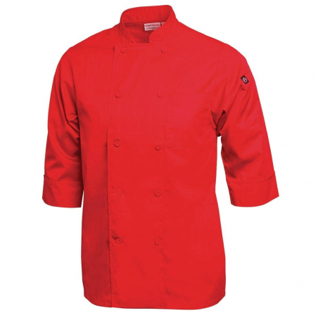 Veste chef unisexe Colour by Chef Works manches 3/4 rouge M