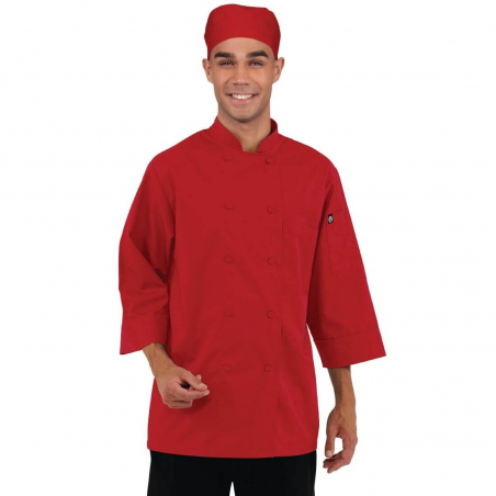 Veste chef unisexe Colour by Chef Works manches 3/4 rouge L