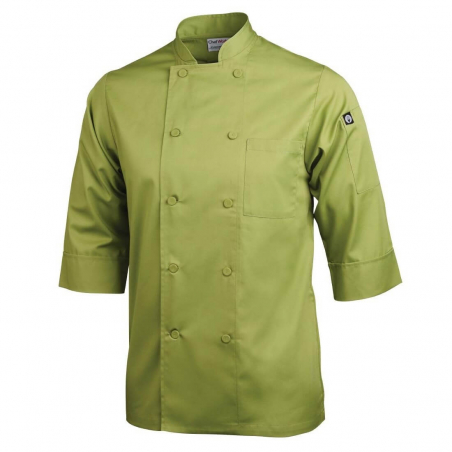 Veste chef unisexe Colour by Chef Works manches 3/4 vert anis S