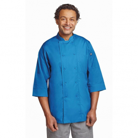 Veste chef unisexe Colour by Chef Works manches 3/4 bleue XL