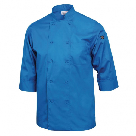 Veste chef unisexe Colour by Chef Works manches 3/4 bleue XXL